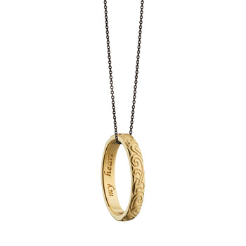 """My heart"" Engraved Poesy Ring Necklace"