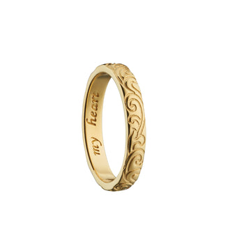 """My heart"" Engraved Poesy Ring, Size 2, 18K Yellow Gold"