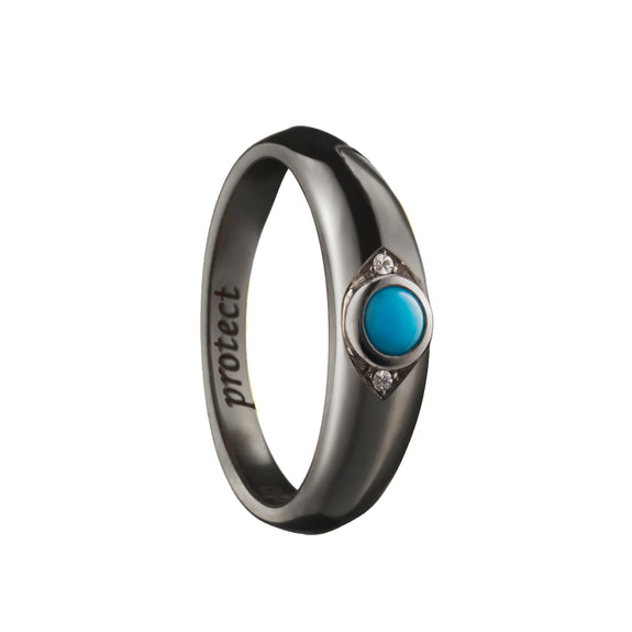 """Protect"" Evil Eye Poesy Ring with Black Rhodium"