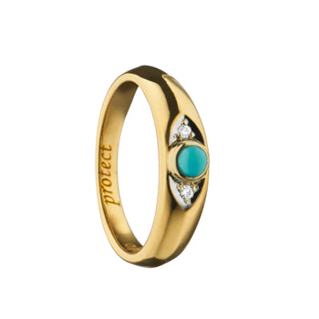 """Protect"" Evil Eye Poesy Ring, Size 4, 18K Yellow Gold"