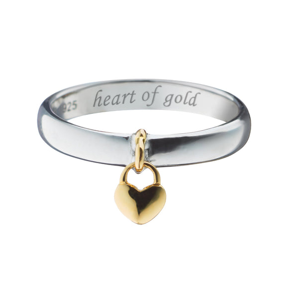 """Heart of Gold"" Poesy Ring, Size 6, Sterling Silver"