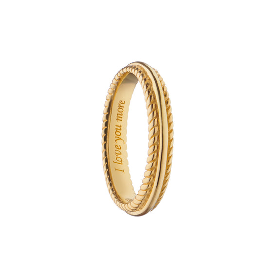 """I Love You More"" Beaded Poesy Ring, Size 2, 18K Yellow Gold"