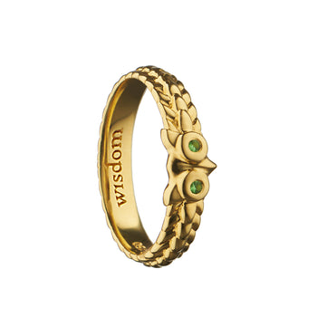 """Wisdom"" Owl Poesy Ring, Size 4, 18K Yellow Gold"