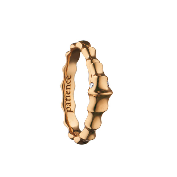"""Patience"" Seahorse Poesy Ring, Size 3, 18K Rose Gold"