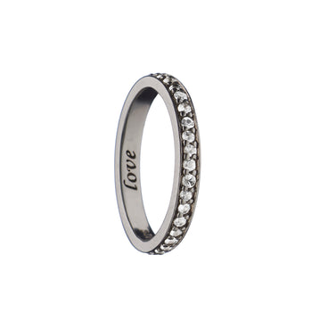 """Love"" Pave Poesy Ring, Size 3, Black Rhodium"