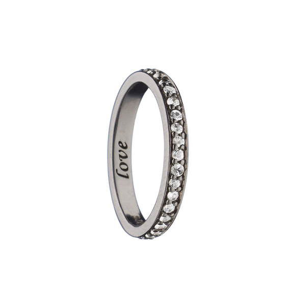 """Love"" Pave Poesy Ring with Black Rhodium"