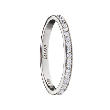 """Love"" Pave Diamond Poesy Stackable Ring"