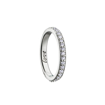 """Love"" Diamond Pave Poesy Ring, Size 2, 18K White Gold"