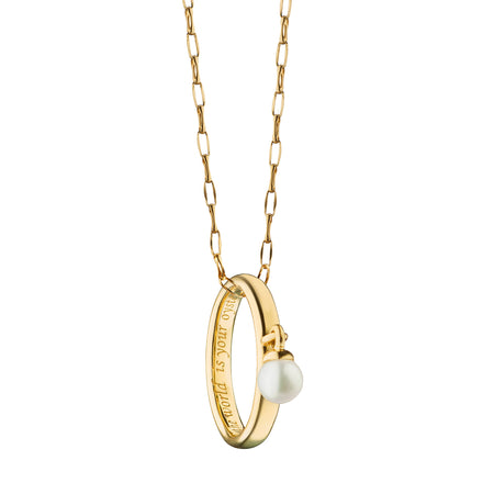 """The World is Your Oyster"" Poesy Ring Necklace on 17"" Gold Chain"