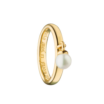 """The World is Your Oyster"" Poesy Ring, Size 3, 18K Yellow Gold"