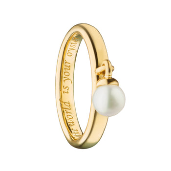 """The World is Your Oyster"" Pearl Stackable Poesy Ring"