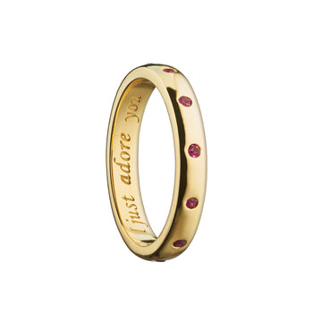 """I just adore you"" Poesy Ring with Rubies, Size 4, 18K Yellow Gold"