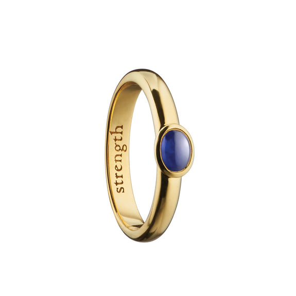 """Strength"" Sapphire Poesy Ring, Size 3, 18K Yellow Gold"