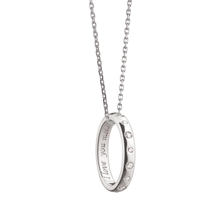 """I love you more"" Sapphire Poesy Ring Necklace"