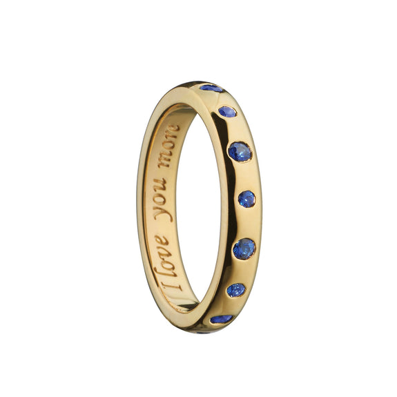 """I love you more"" Poesy Ring with Sapphires, Size 4, 18K Yellow Gold"