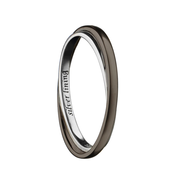 """Silver Lining"" Poesy Ring with Black Rhodium"