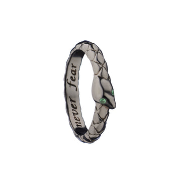 """Never Fear"" Snake Poesy Ring, Size 3, Black Rhodium"