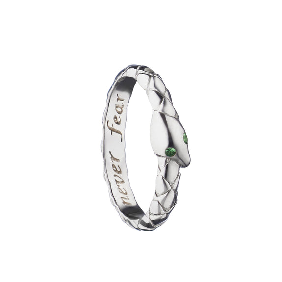 """Never Fear"" Snake Poesy Ring, Size 3, Sterling Silver"