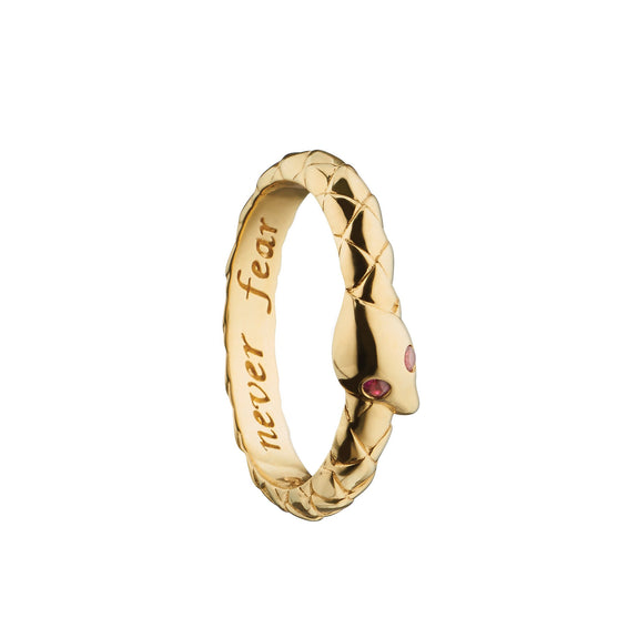 """Never fear"" Snake Poesy Ring, Size 3, 18K Yellow Gold"