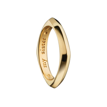 """My Sister, My Friend"" Square Poesy Ring, Size 5, 18K Yellow Gold"