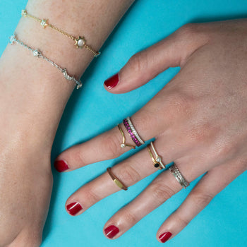 """Luck"" Ruby Poesy Stackable Ring in Poesy Ring Stack"