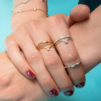 """Happiness"" Sun Poesy Stackable Ring in Poesy Ring Stack"