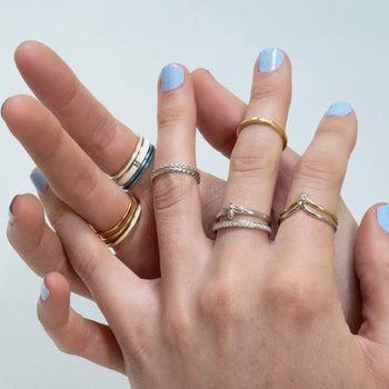 """Carpe Diem"" Striped Poesy Stackable Ring in Poesy Ring Stack"