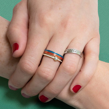 "Red  ""Warrior"" Poesy Stackable Ring in Poesy Ring Stack"