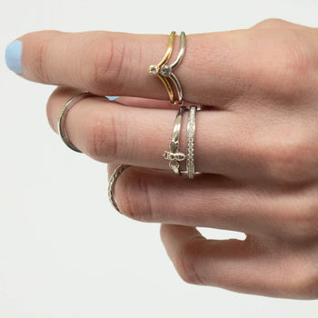 """Love"" Pave Diamond Poesy Stackable Ring in Poesy Ring Stack"