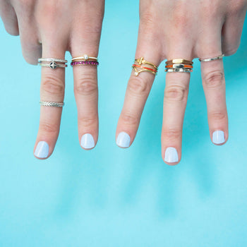 "Tan ""Invincible"" Signet Poesy Stackable Ring in Poesy Ring Stack"