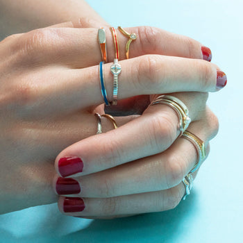 """Adventure"" Compass Poesy Stackable Ring in Poesy Ring Stack"