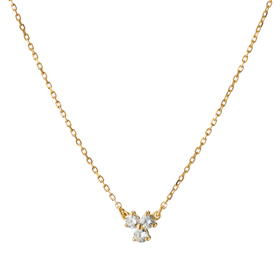 Recycled 18K Yellow Gold and Diamond Necklace, 3 Diamonds