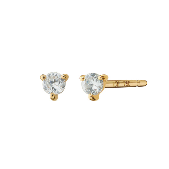 Recycled 18K Yellow Gold and Diamond Studs