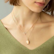 "18K Rose Gold ""Grace"" Dragonfly Diamond Critter Necklace and Petite ""Anna"" Locket"