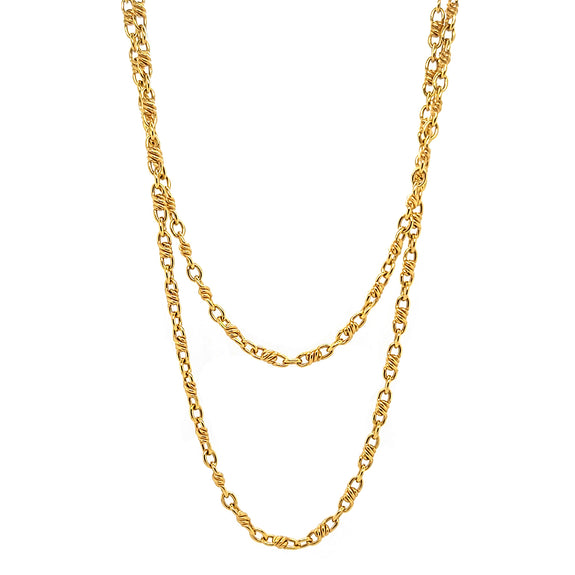 Delicate Figaro Chain Necklace, doubled
