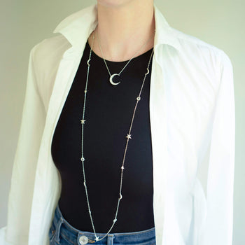 Moonstone Crescent Moon Necklace with Sun, Moon, & Stars Layering Chain