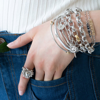 "Layered Poesy Bracelets, Bangles, and Charm Bracelets, and Sterling Silver ""Courage"" Lion Ring"