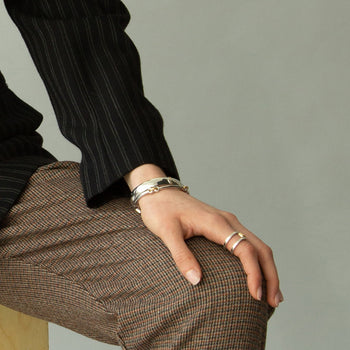 "Two-Tone Chevron ""Carpe Diem"" Poesy Cuff, ""Strength"" Poesy Bangle and Two-Tone Double Band Ring"