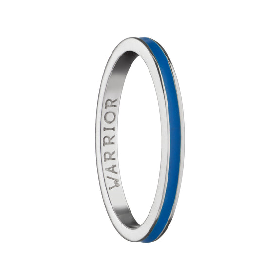 "Blue ""Warrior"" Poesy Stackable Ring"