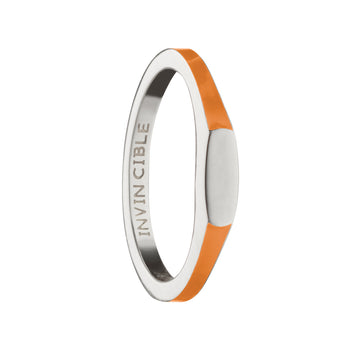 "Orange ""Invincible"" Signet Poesy Stackable Ring"