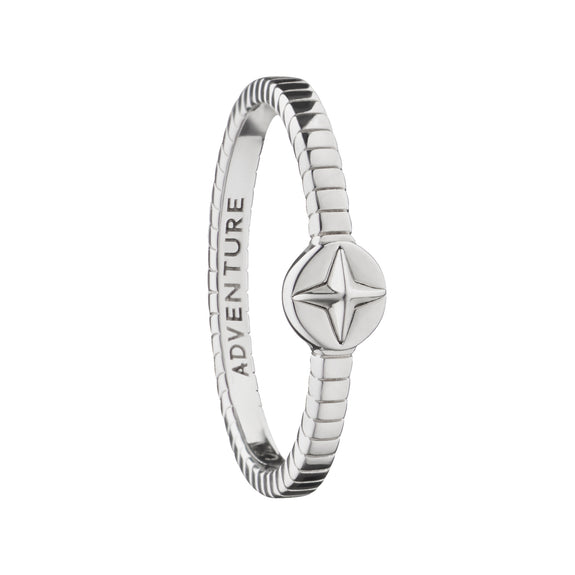 """Adventure"" Compass Poesy Stackable Ring"
