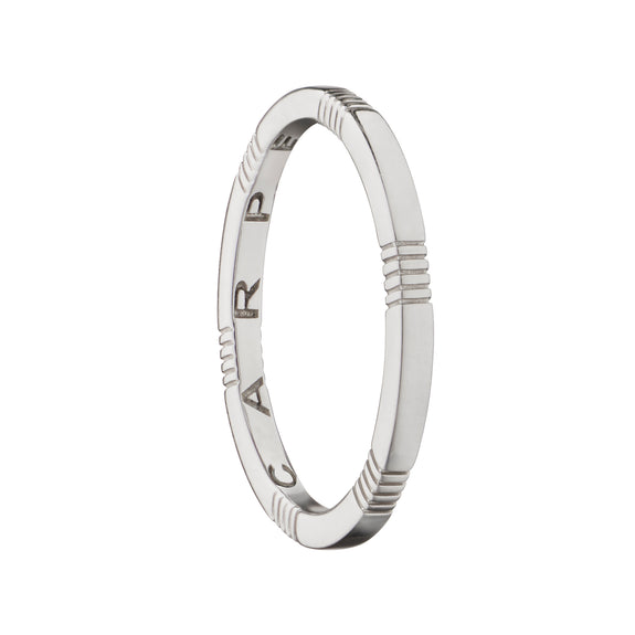 """Carpe Diem"" Striped Poesy Stackable Ring"