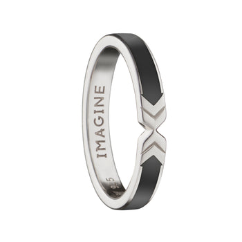 "Black ""Imagine"" Arrow Poesy Stackable Ring"