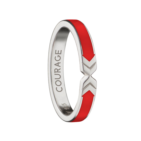 "Red  ""Courage"" Arrow Poesy Stackable Ring"