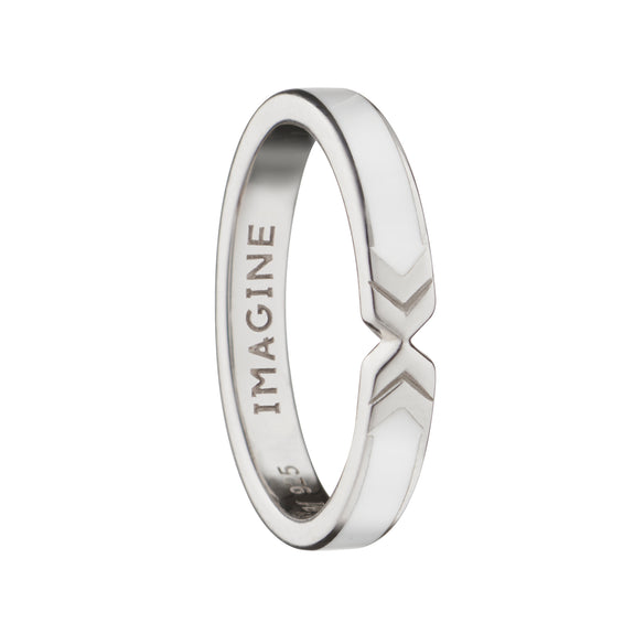 "White ""Imagine"" Arrow Poesy Stackable Ring"