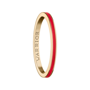 "Red  ""Warrior"" Poesy Stackable Ring"