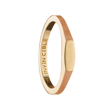 "Tan ""Invincible"" Signet Poesy Stackable Ring"
