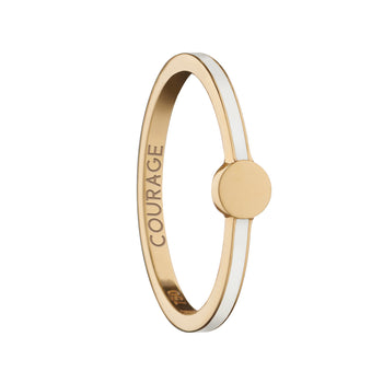 "White  ""Courage"" Signet Poesy Stackable Ring"