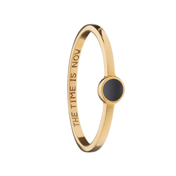 "Black ""The Time is Now"" Signet Poesy Stackable Ring"