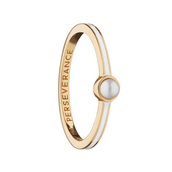 "White Enamel and Pearl ""Perseverance"" Poesy Stackable Ring"
